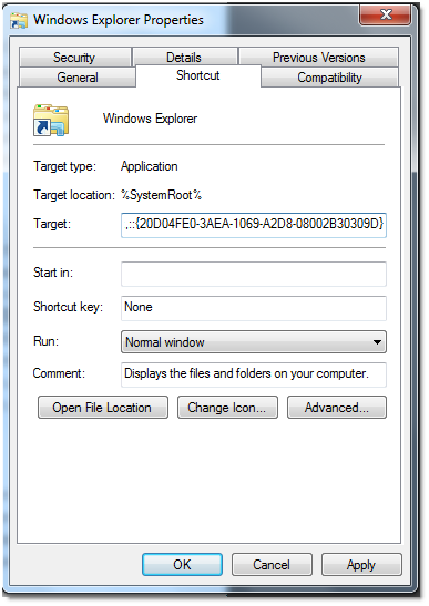 How to change the default location in windows explorer to for Windows 7 my documents location change