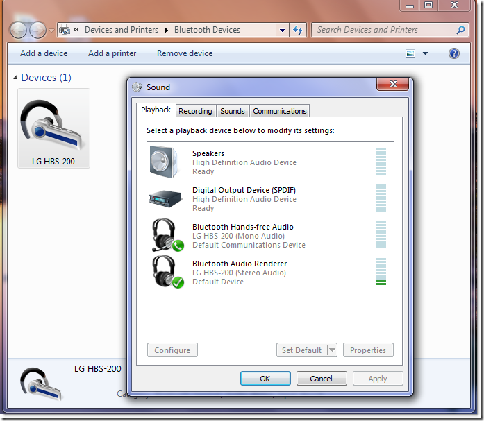 LG HBS 200 bluetooth windows 7