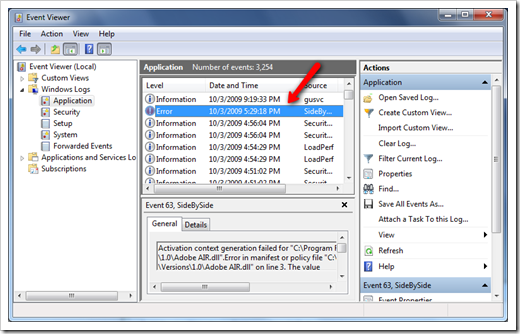 create application event log windows 7