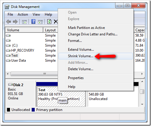 How To Use Built In Disk Management Tool To Shrink Or