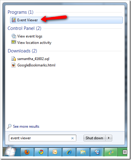 how to open event viewer in windows 7