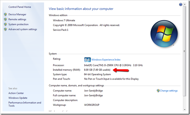 Why My 64 Bit Windows 7 Still Show 3gb Usable Out Of 4gb