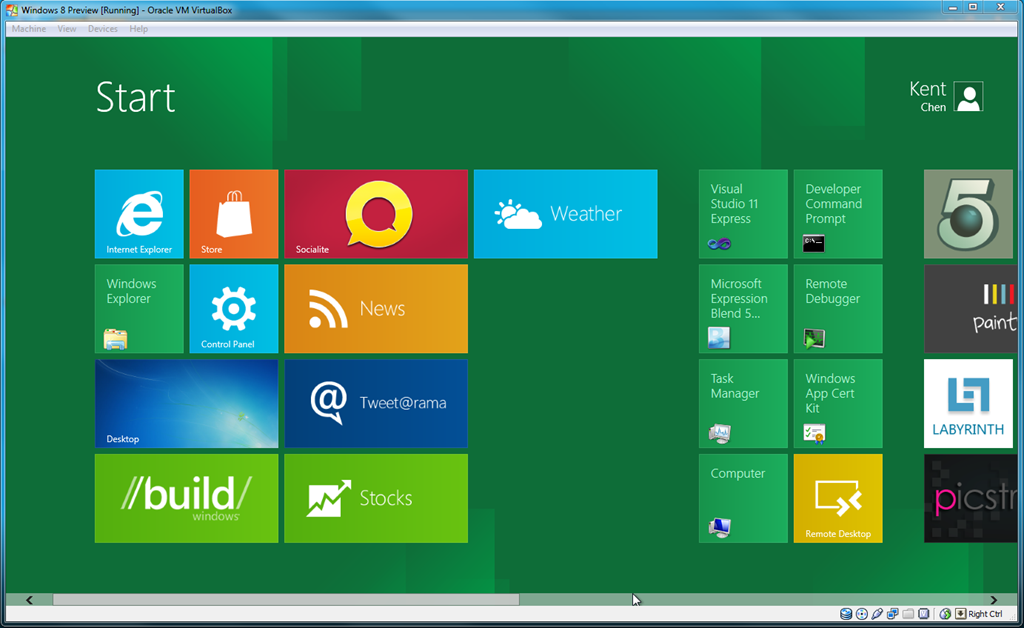 Running Windows 8 on VirtualBox with Additional Wide Screen Resolution