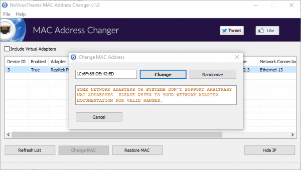 NoVirusThanks MAC Address Changer