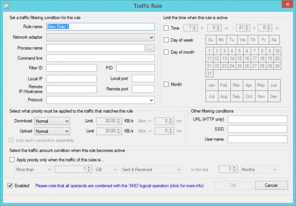 NetBalancer - traffic rules