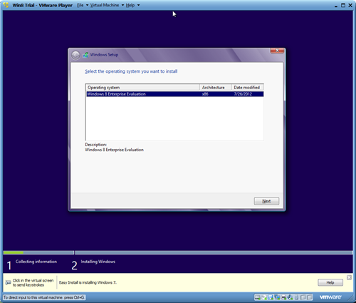 Windows 8 VMware Player Instalation #1