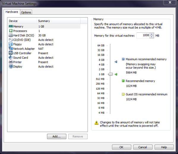 Windows 8 VMware Player Settings