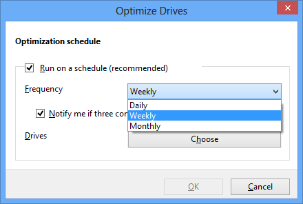 Optimize Drives - Change Settings