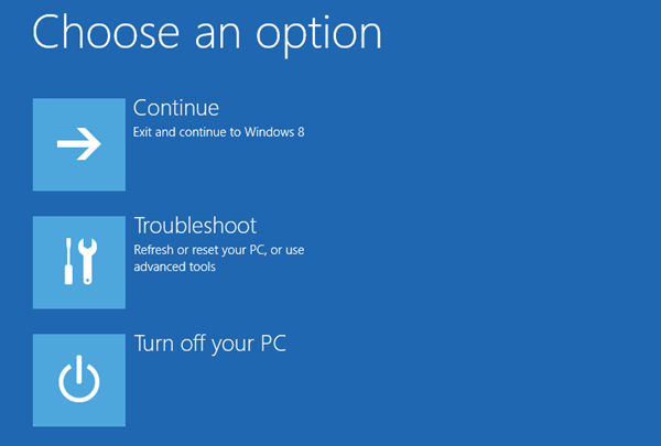 Windows 8 - advanced boot options