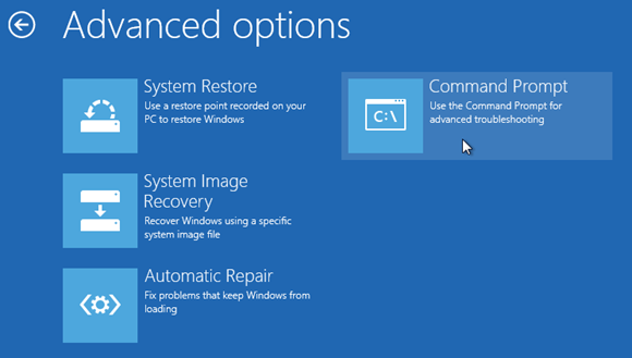Windows 8 repaire boot option command prompt