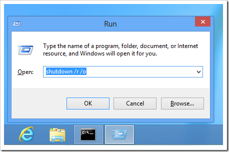 Windows 8 - shutdown to advanced boot options