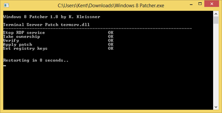 Applying Windows 8 Patcher