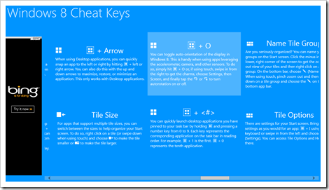 Windows 8 App - Windows 8 Cheat Keys