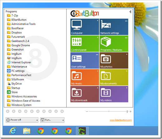 8StartButton - start menu