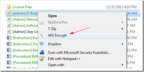 AES Crypt - context menu