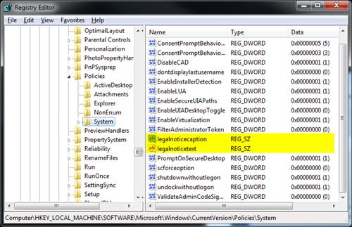 Display custom messages during startup - registry