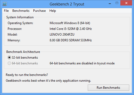 Geekbench - main window