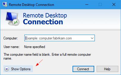 Remote Desktop Connection - Show Options