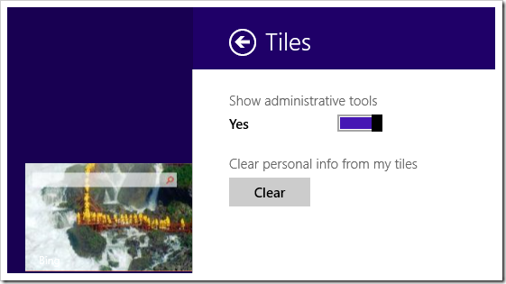 Settings Charm - Tiles - administrative tools