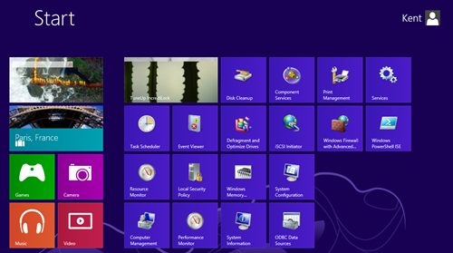 Windows 8 - Start Screen with Administrative Tools