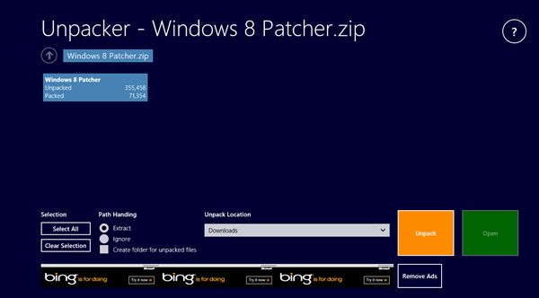 Windows 8 app - unpacker