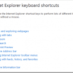 Complete List of Internet Explorer 8.0 Keyboard Shortcut on Windows 7