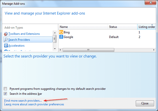IE 10 - manage search providers