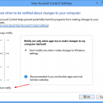 User Account Control Settings on Windows 8