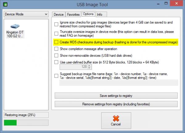 USB Image Tool - Options