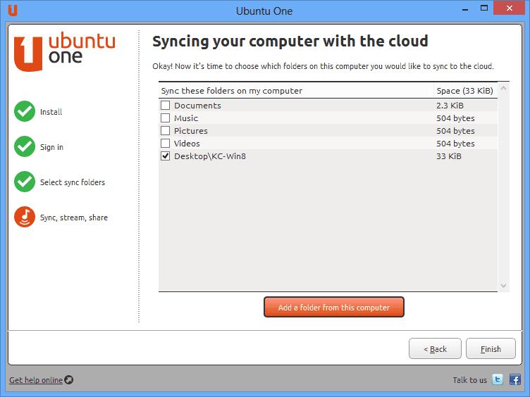 Finish setting up ubuntu One windows client