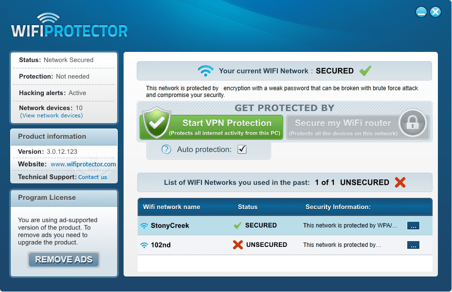 ������ Wifi protector ������ ���� ������ �� ��������