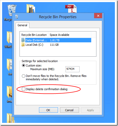 Windows Explorer - Recycle Bin Properties