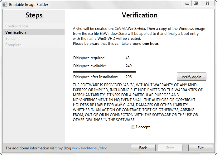Bootable Image Builder - verification
