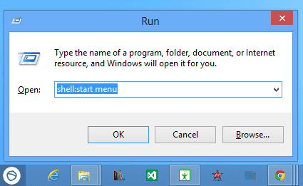 Run - shell - start menu
