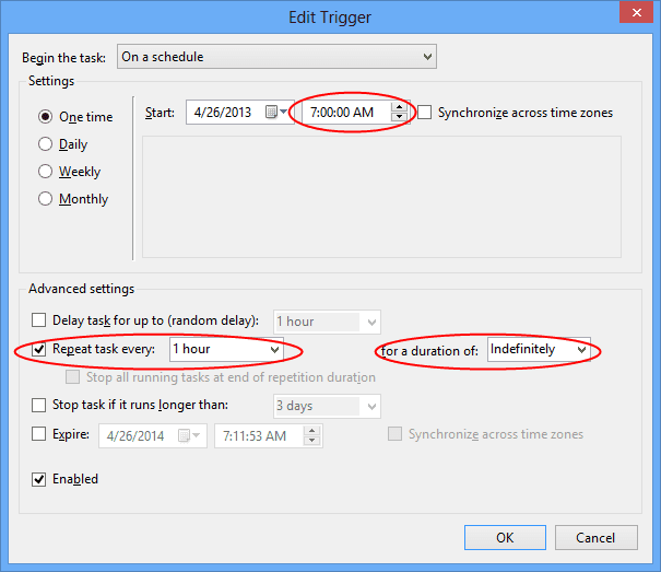 Task Scheduler - Trigger repeat hourly