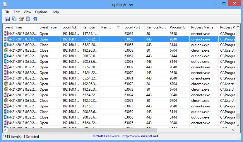 TcpLogView - main screen