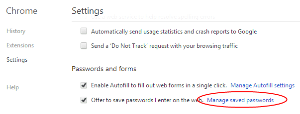 Chrome - saved passwords