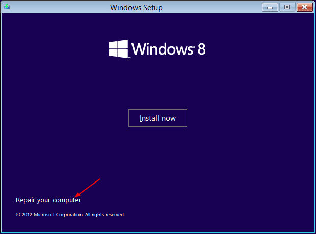 Install windows - repair your computer