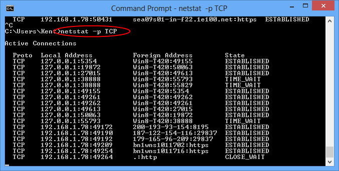 Netstat -p tcp