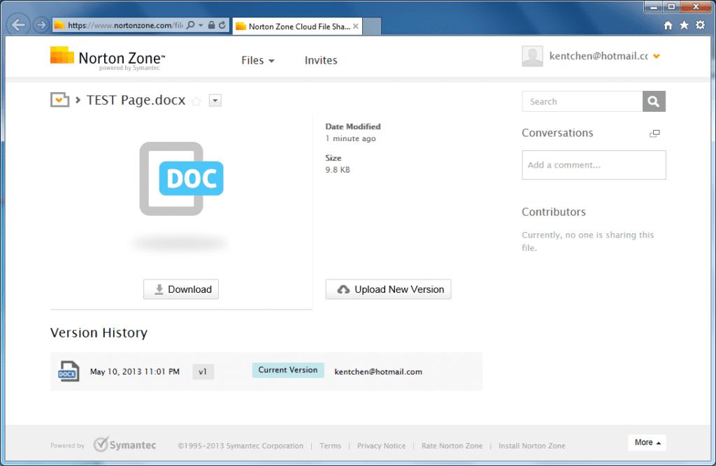 Norton Zon - file sharing