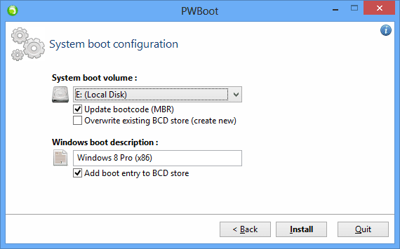 PWBoot - step 5 - select boot partition for bcd records