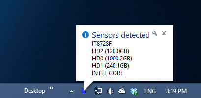 SpeedFan - sensor detected.