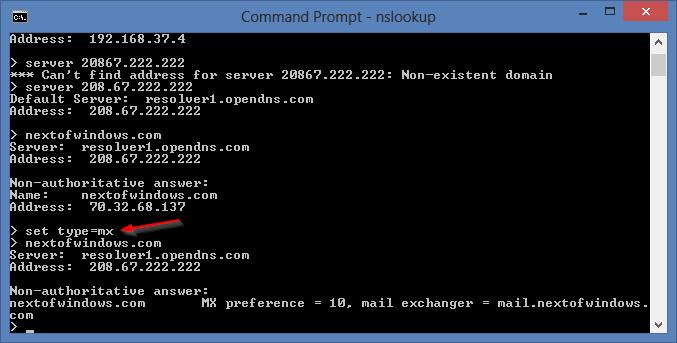 nslookup - set type mx | Next of Windows