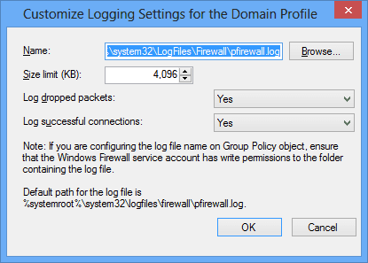Customize Logging Settings for the Domain Profile