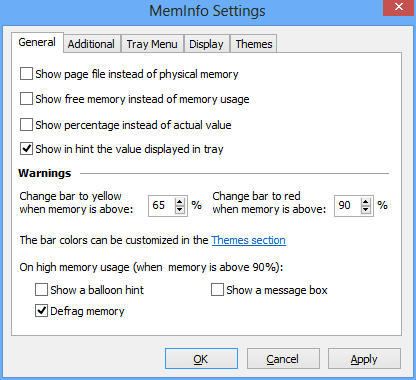 Figure 2 - MemInfo Settings
