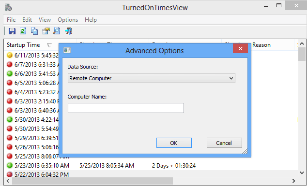TurnedOnTimesView - advanced option to access remote computer