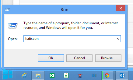 run dialog box to run tsdiscon