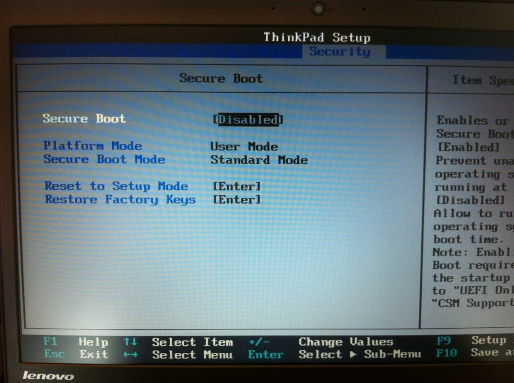 Figure 1 - disable Secure Boot in BIOS