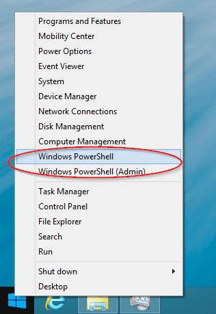 Figure 1 - New Win+X menu with PowerShell
