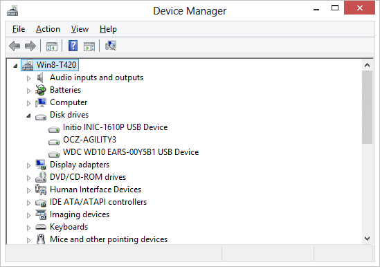 Figure 2 - hard drives currently connected